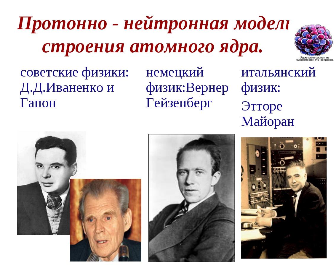 Протонно - нейтронная модель строения атомного ядра. советские физики: Д.Д.Ив...