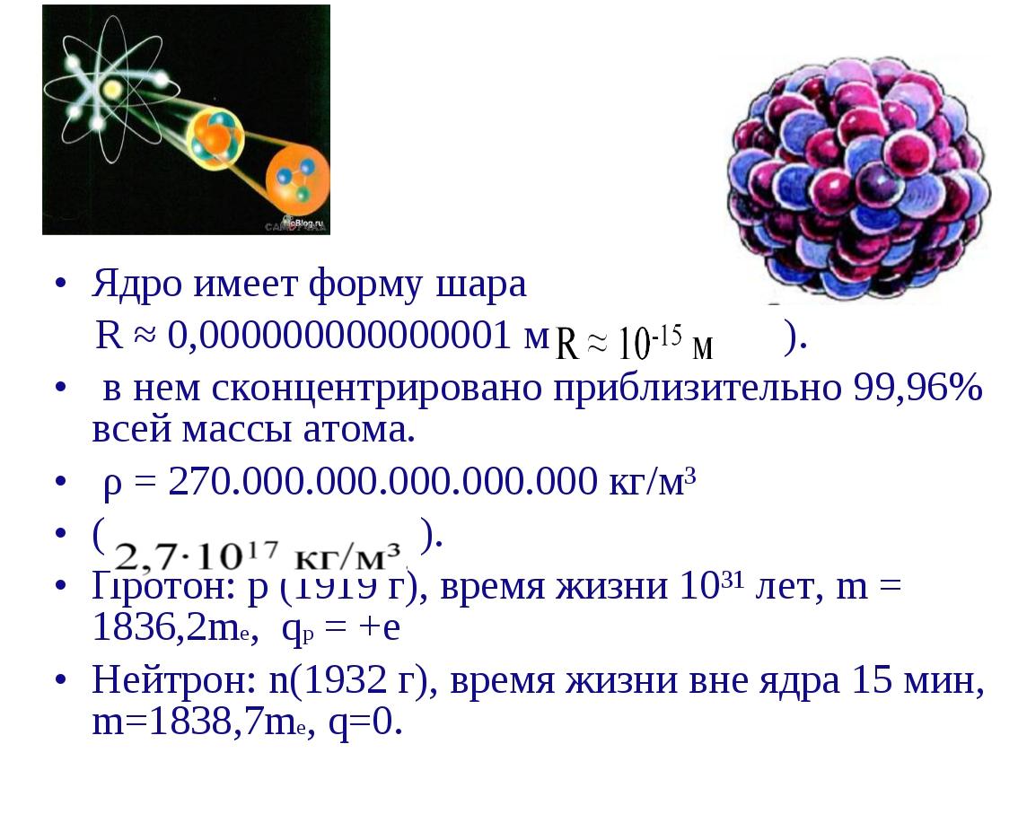 Ядро имеет форму шара R ≈ 0,000000000000001 м ( ). в нем сконцентрировано при...
