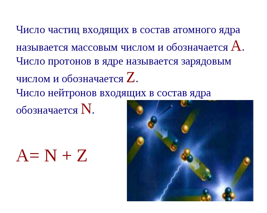 Число частиц входящих в состав атомного ядра называется массовым числом и обо...