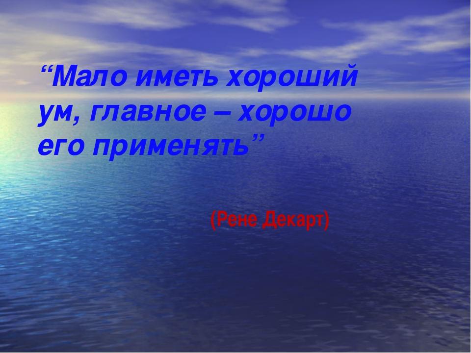 """""""Мало иметь хороший ум, главное – хорошо его применять"""" (Рене Декарт)"""