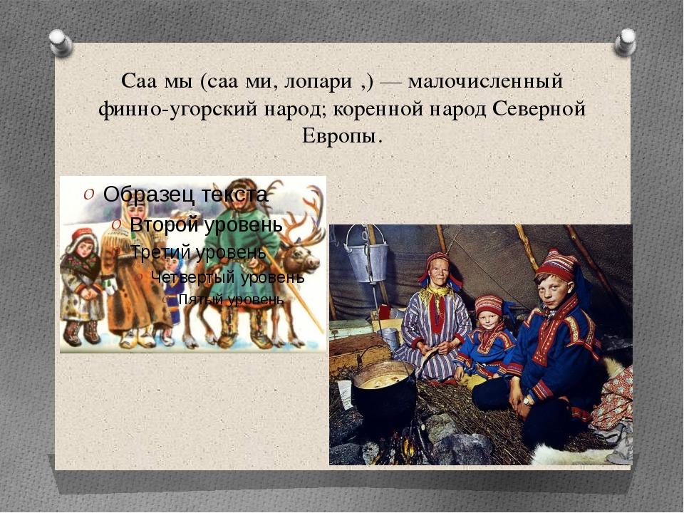 Саа́мы (саа́ми, лопари́,) — малочисленный финно-угорский народ; коренной наро...