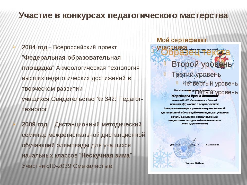 Участие в конкурсах педагогического мастерства 2004 год - Всероссийский проек...