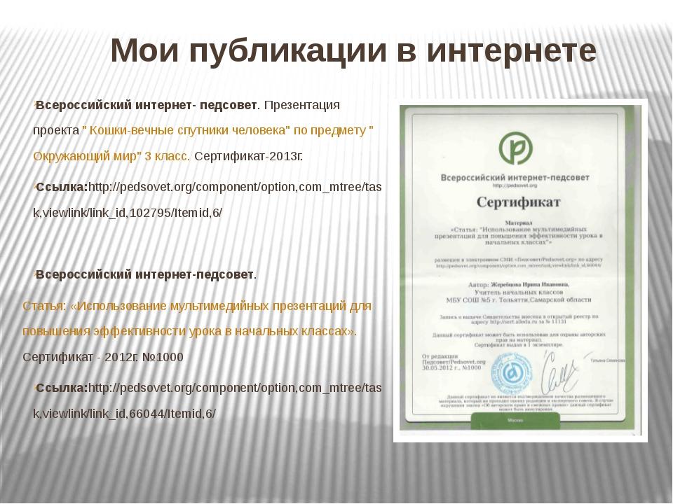 Мои публикации в интернете Всероссийский интернет- педсовет. Презентация прое...