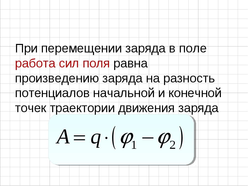 При перемещении заряда в поле работа сил поля равна произведению заряда на ра...