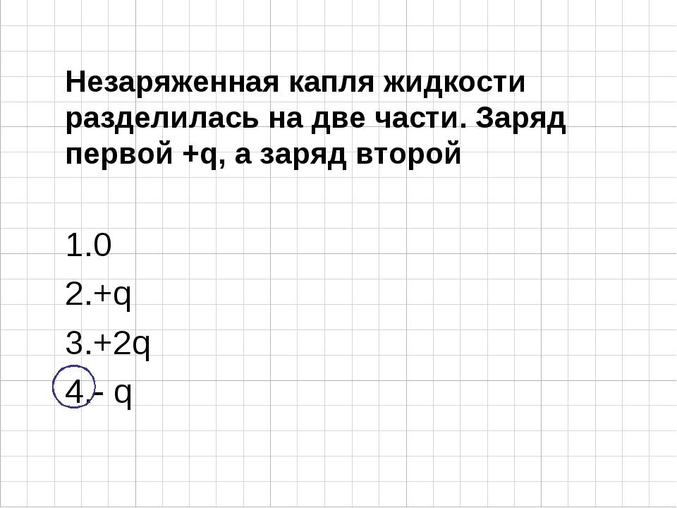 Незаряженная капля жидкости разделилась на две части. Заряд первой +q, а заря...