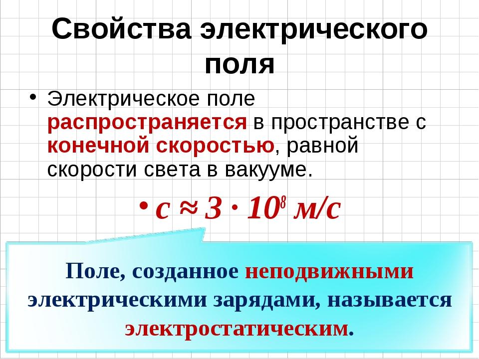 Свойства электрического поля Электрическое поле распространяется в пространст...