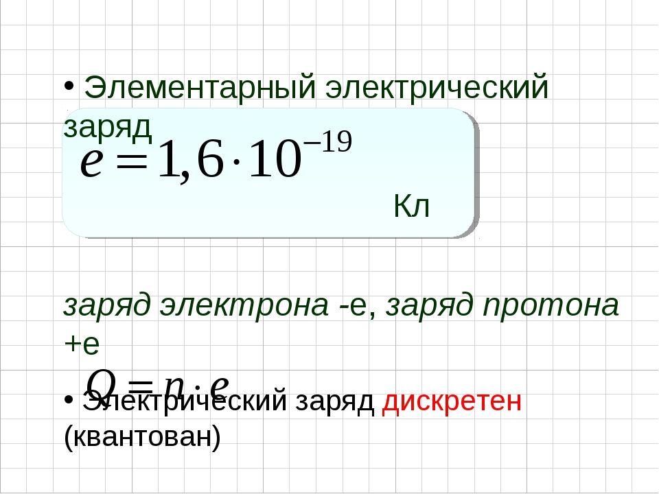 Элементарный электрический заряд Кл заряд электрона -e, заряд протона +...