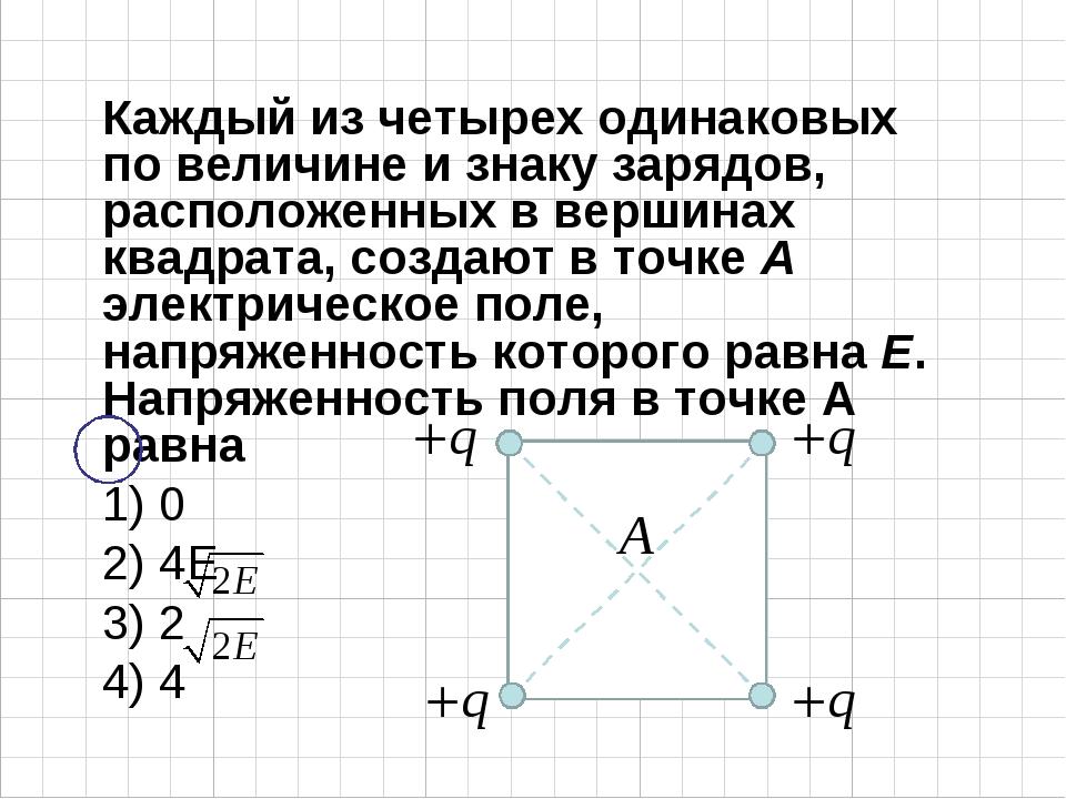 Каждый из четырех одинаковых по величине и знаку зарядов, расположенных в вер...
