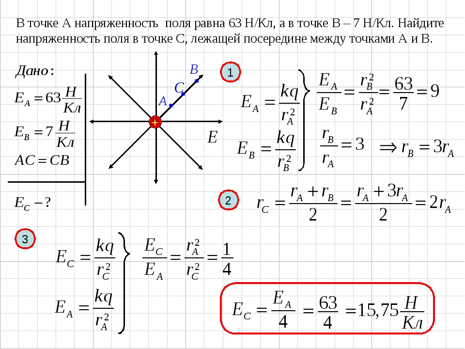 В точке А напряженность поля равна 63 Н/Кл, а в точке В – 7 Н/Кл. Найдите нап...