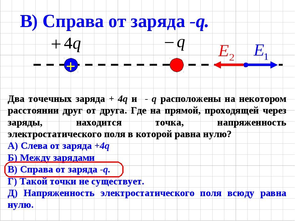 Два точечных заряда + 4q и - q расположены на некотором расстоянии друг от др...