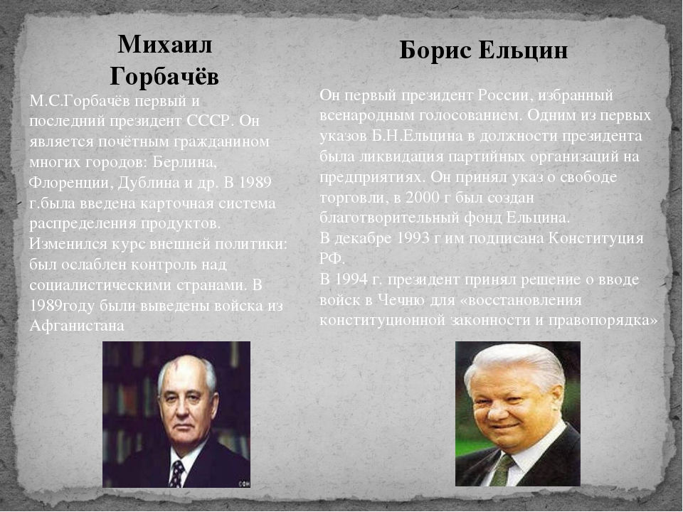 Михаил Горбачёв Борис Ельцин М.С.Горбачёв первый и последний президент СССР....
