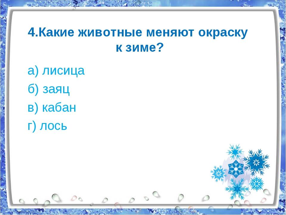 4.Какие животные меняют окраску к зиме? а) лисица б) заяц в) кабан г) лось