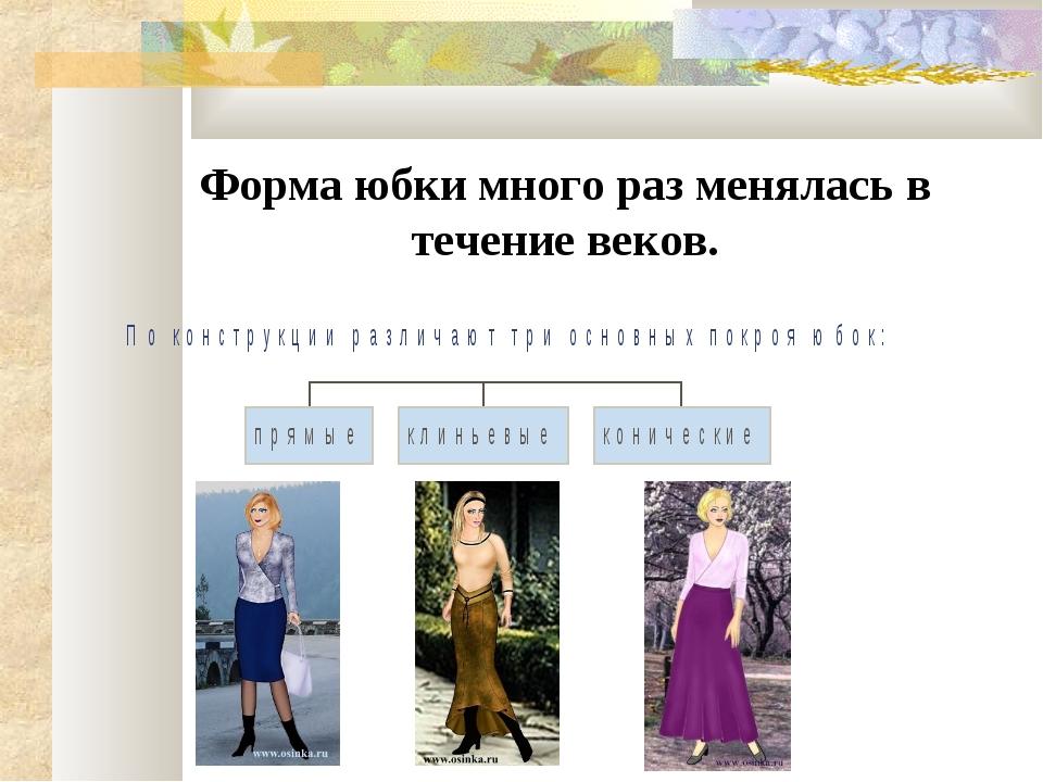 Форма юбки много раз менялась в течение веков.