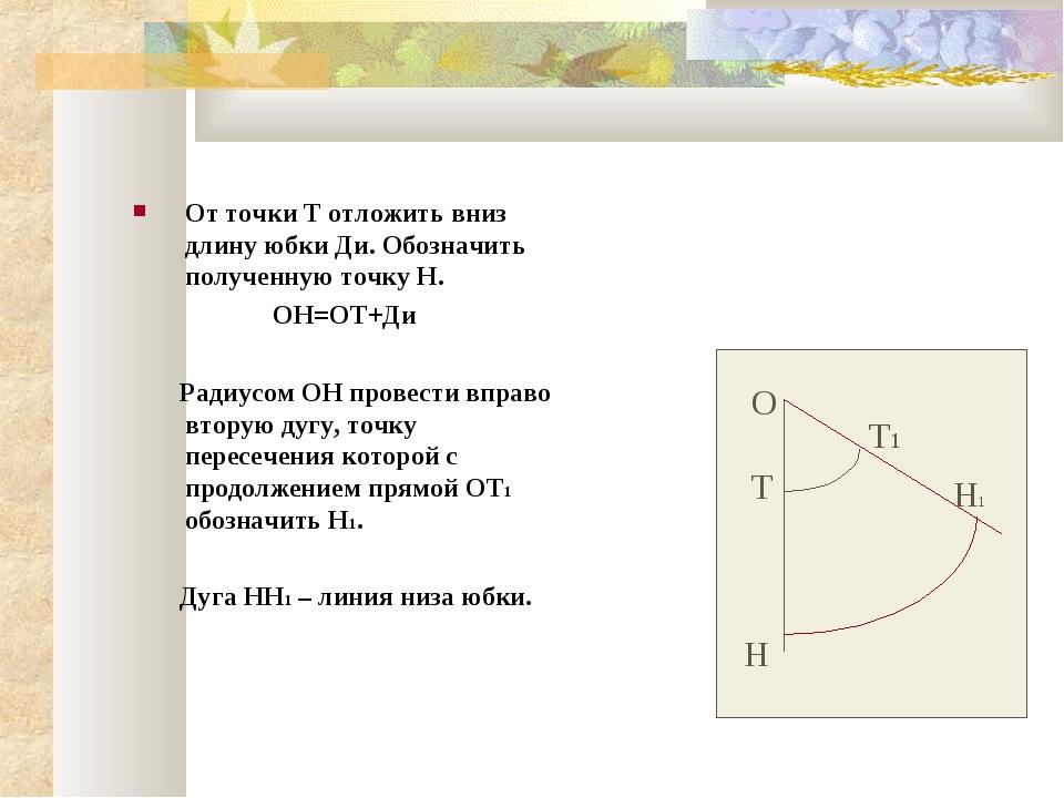 От точки Т отложить вниз длину юбки Ди. Обозначить полученную точку Н. ОН=ОТ+...