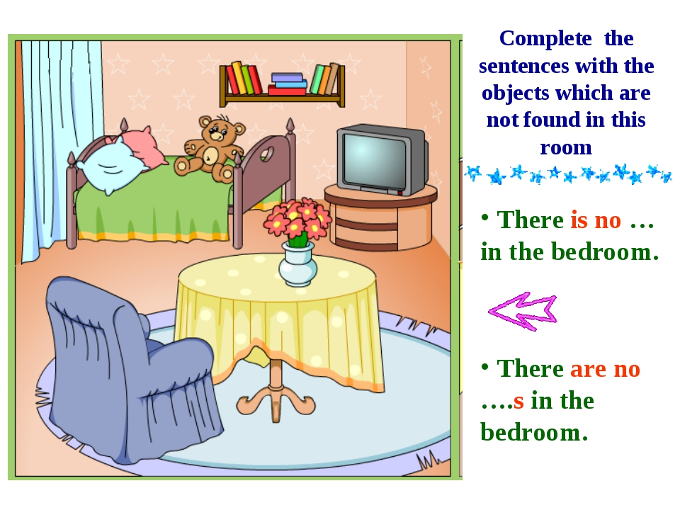 There is no … in the bedroom. There are no ….s in the bedroom. Complete the...