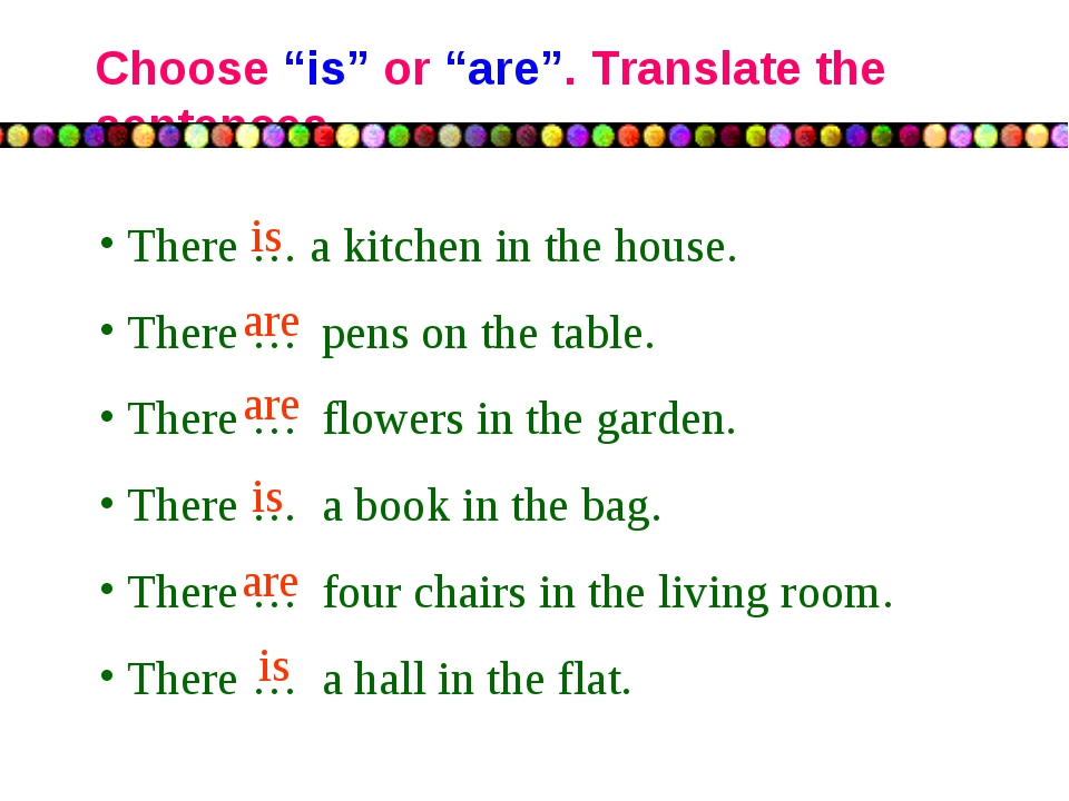 """Choose """"is"""" or """"are"""". Translate the sentences There … a kitchen in the house...."""