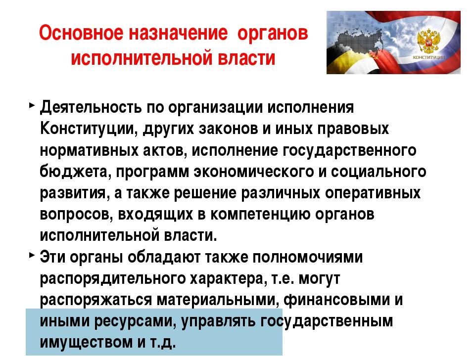 Основное назначение органов исполнительной власти Деятельность по организации...