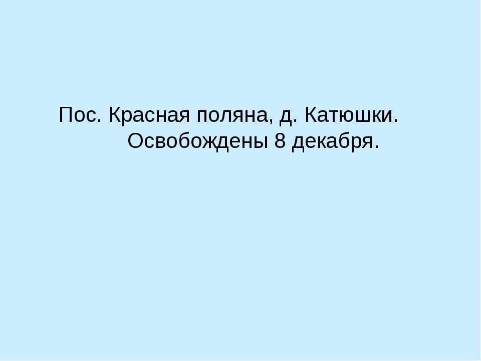 Пос. Красная поляна, д. Катюшки. Освобождены 8 декабря.