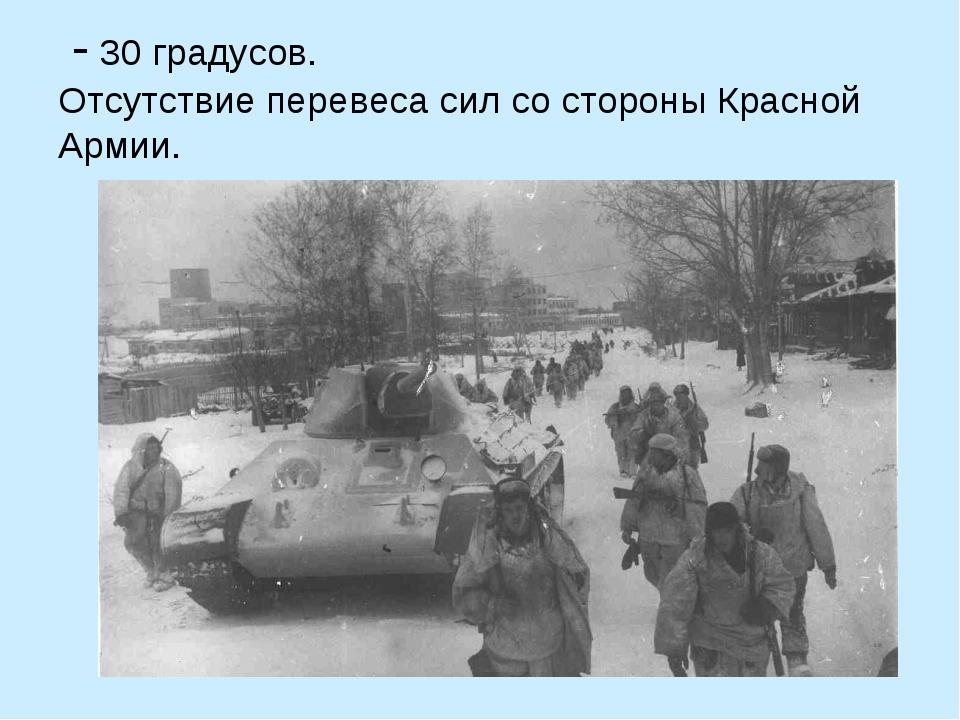 - 30 градусов. Отсутствие перевеса сил со стороны Красной Армии.