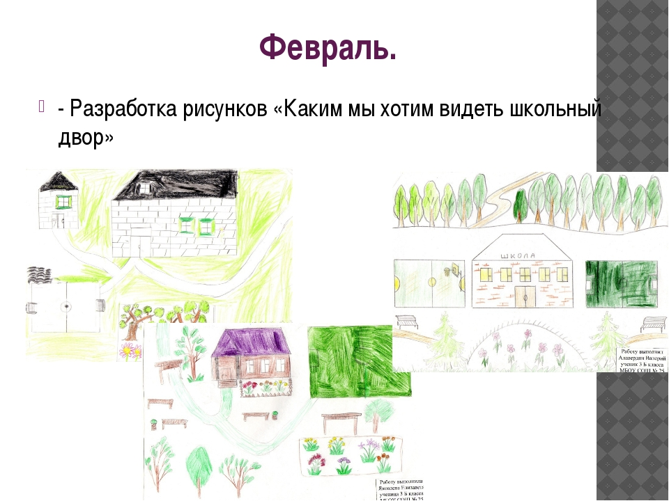 Февраль. - Разработка рисунков «Каким мы хотим видеть школьный двор»