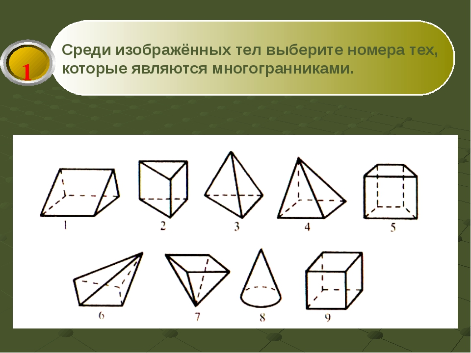 Среди изображённых тел выберите номера тех, которые являются многогранниками. 1