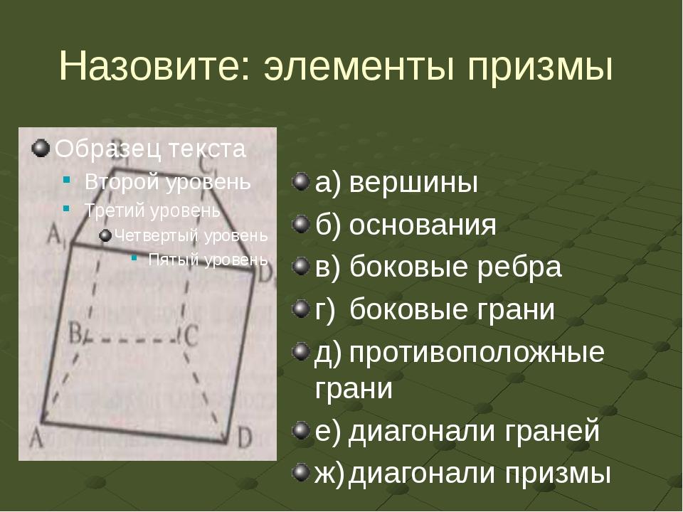 Назовите: элементы призмы а)вершины б)основания в)боковые ребра г)боковые...