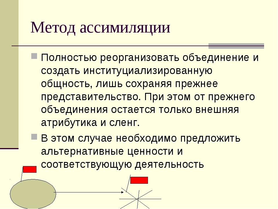 Метод ассимиляции Полностью реорганизовать объединение и создать институциали...