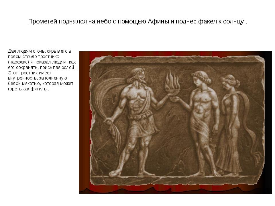 Прометей поднялся на небо с помощью Афины и поднес факел к солнцу . Дал людям...