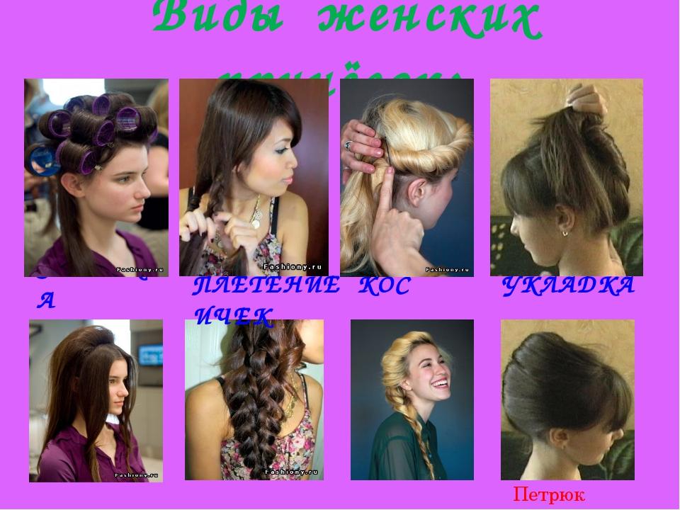 Виды женских причёсок: ЗАВИВКА ПЛЕТЕНИЕ КОС ИЧЕК УКЛАДКА Петрюк Анастасия