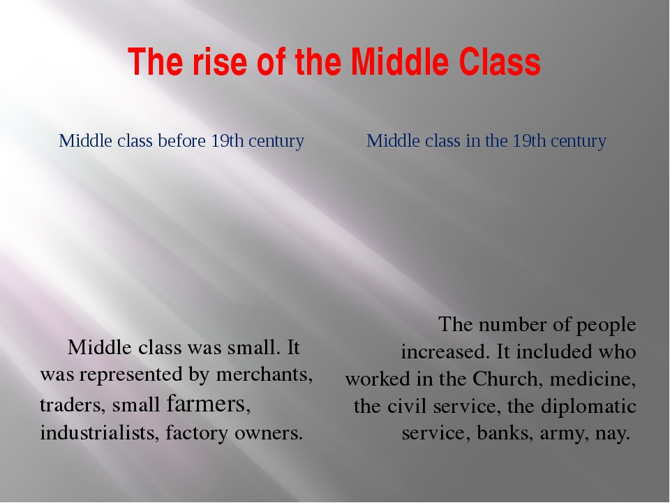 The rise of the Middle Class Middle class before 19th century Middle class in...