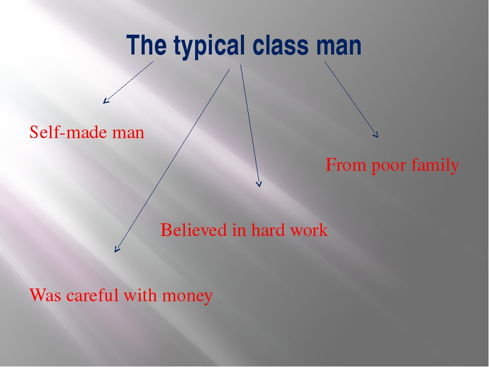 The typical class man Self-made man From poor family Believed in hard work Wa...