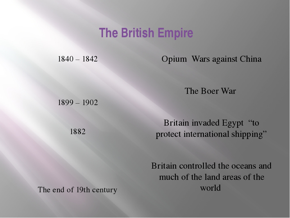 1840 – 1842 1899 – 1902 1882 The end of 19th century Opium Wars against China...