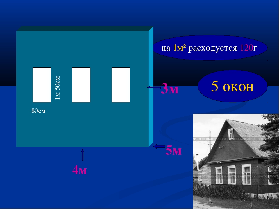4м 3м 5м 80см 1м 50см на 1м² расходуется 120г 5 окон