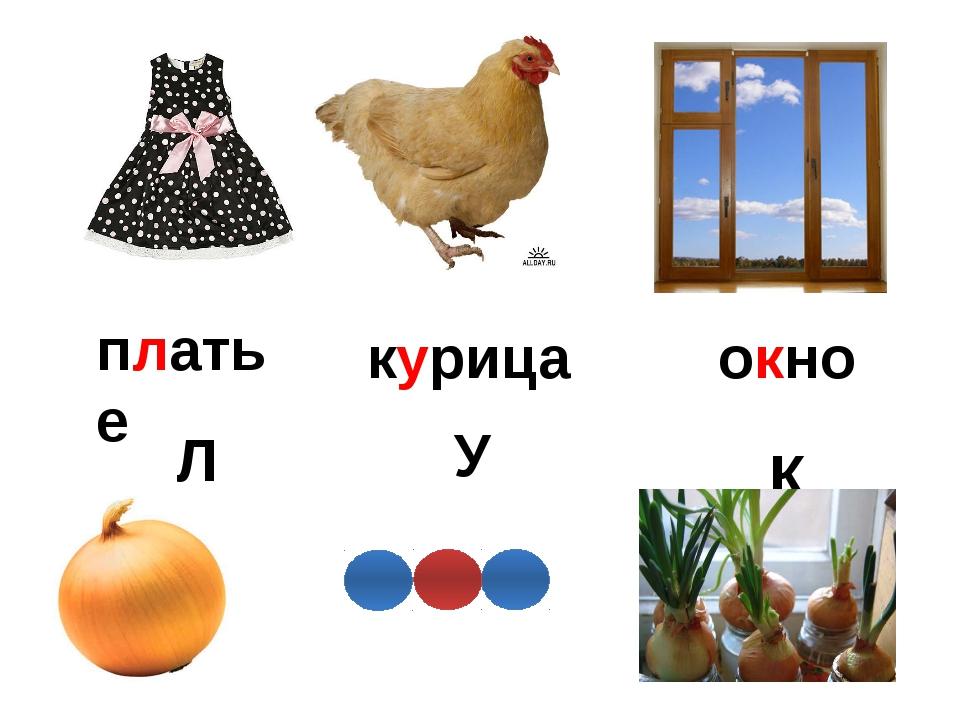 Л К У платье курица окно