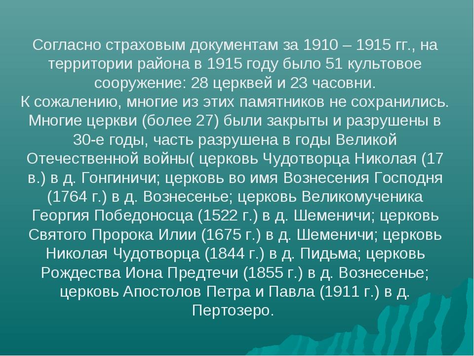 Согласно страховым документам за 1910 – 1915 гг., на территории района в 1915...
