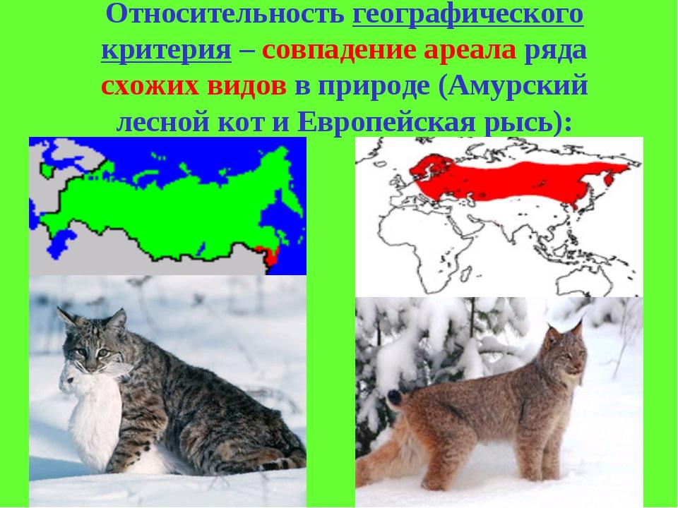 Относительность географического критерия – совпадение ареала ряда схожих видо...