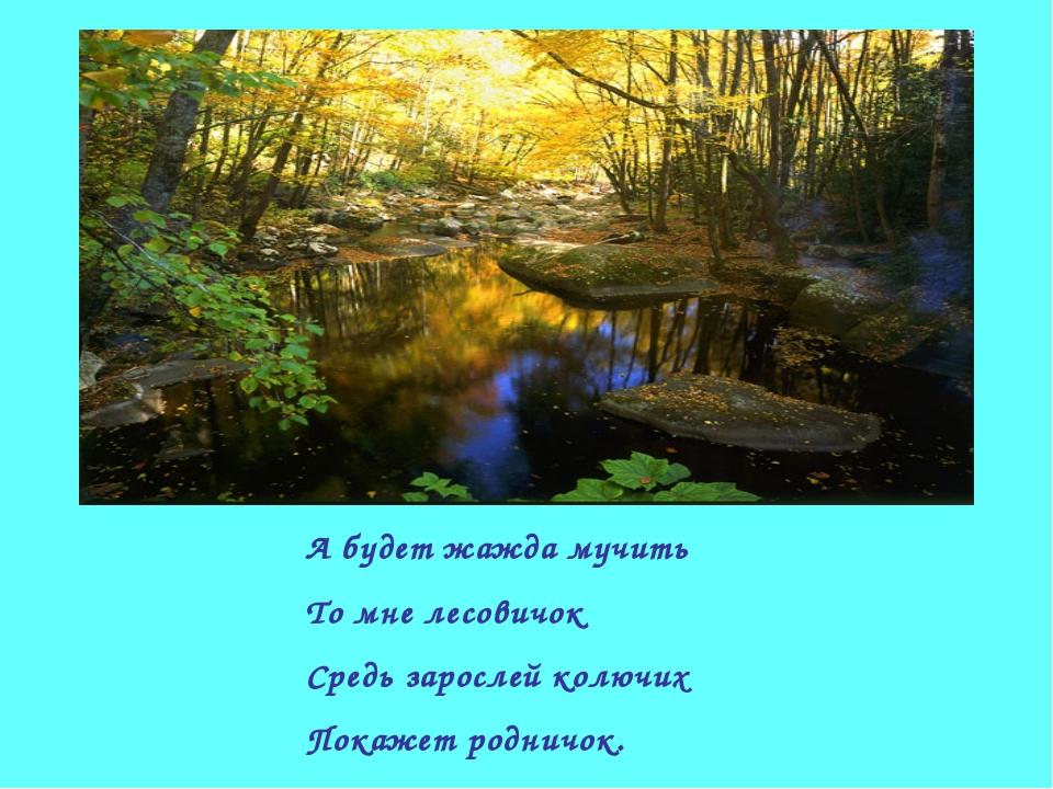 А будет жажда мучить То мне лесовичок Средь зарослей колючих Покажет родничок.