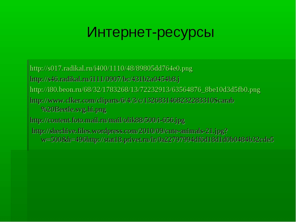 Интернет-ресурсы http://s017.radikal.ru/i400/1110/48/89805dd764e0.png http://...
