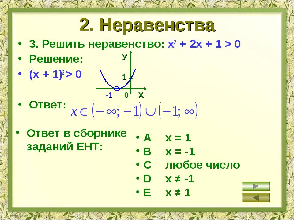 2. Неравенства 3. Решить неравенство: х2 + 2х + 1 > 0 Решение: (х + 1)2 > 0 О...