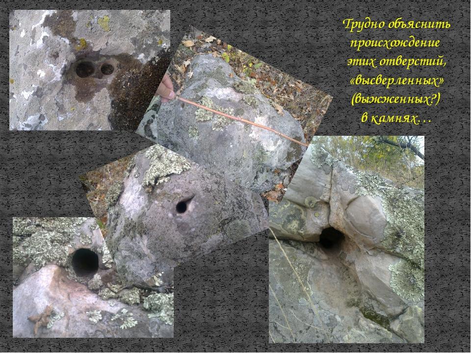 Трудно объяснить происхождение этих отверстий, «высверленных» (выжженных?) в...