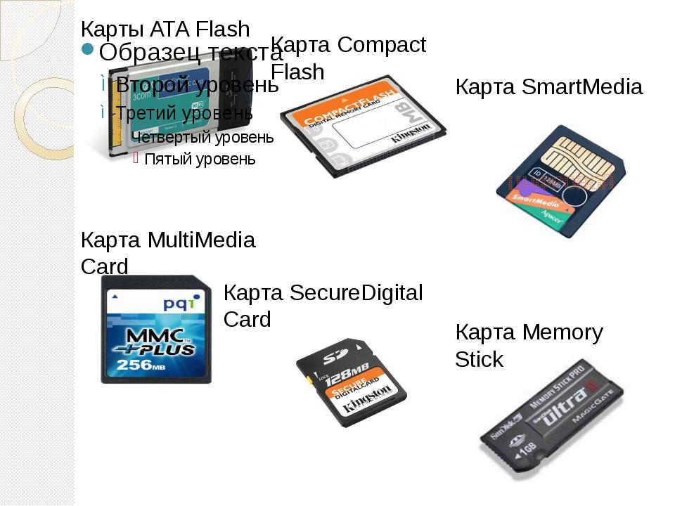 Карты ATA Flash Карта Compact Flash Карта SmartMedia Карта MultiMedia Card Ка...