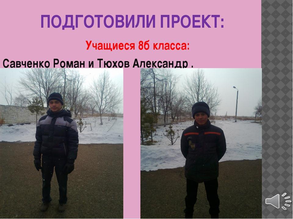 ПОДГОТОВИЛИ ПРОЕКТ: Учащиеся 8б класса: Савченко Роман и Тюхов Александр .
