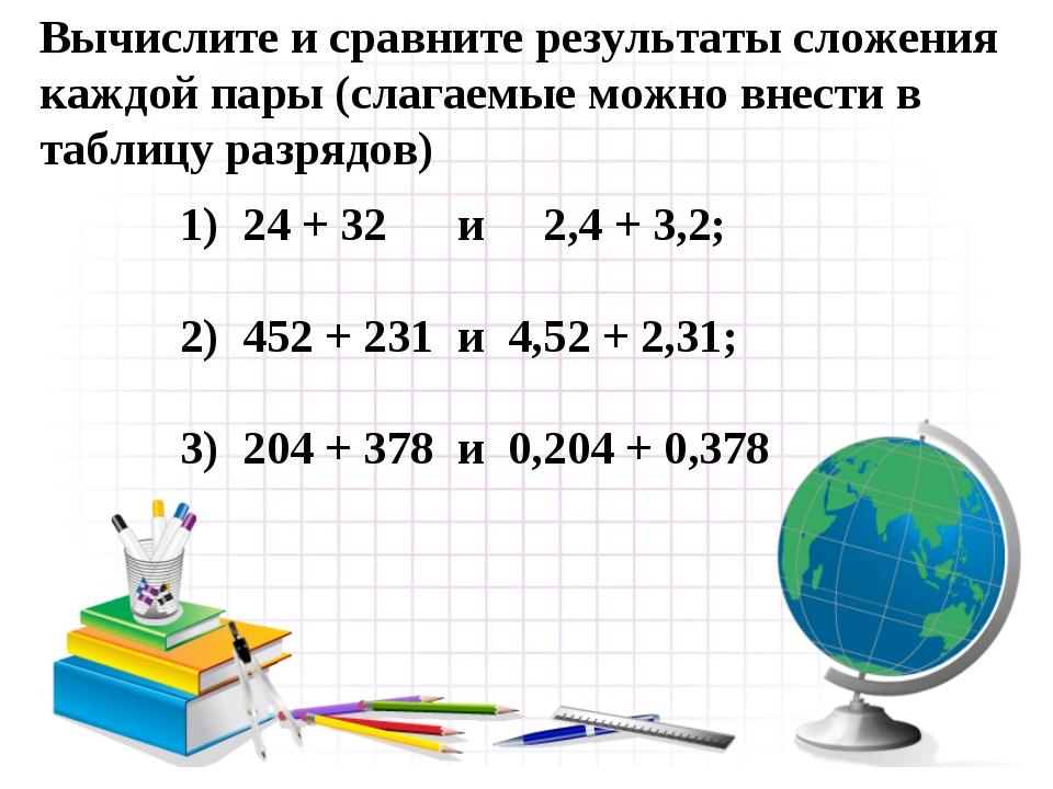 1) 24 + 32 и 2,4 + 3,2; 2) 452 + 231 и 4,52 + 2,31; 3) 204 + 378 и 0,204 + 0,...