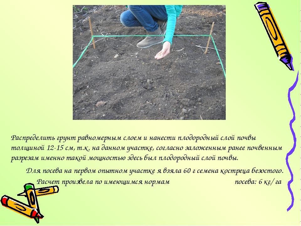 Распределить грунт равномерным слоем и нанести плодородный слой почвы толщино...