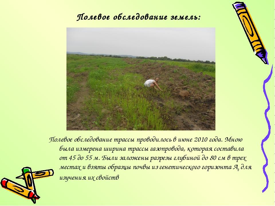 Полевое обследование земель: Полевое обследование трассы проводилось в июне...