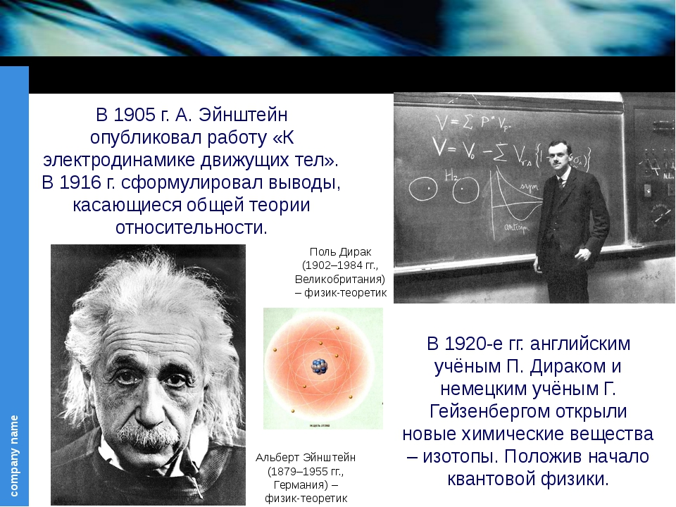 Альберт Эйнштейн (1879–1955 гг., Германия) – физик-теоретик В 1905 г. А. Эйн...