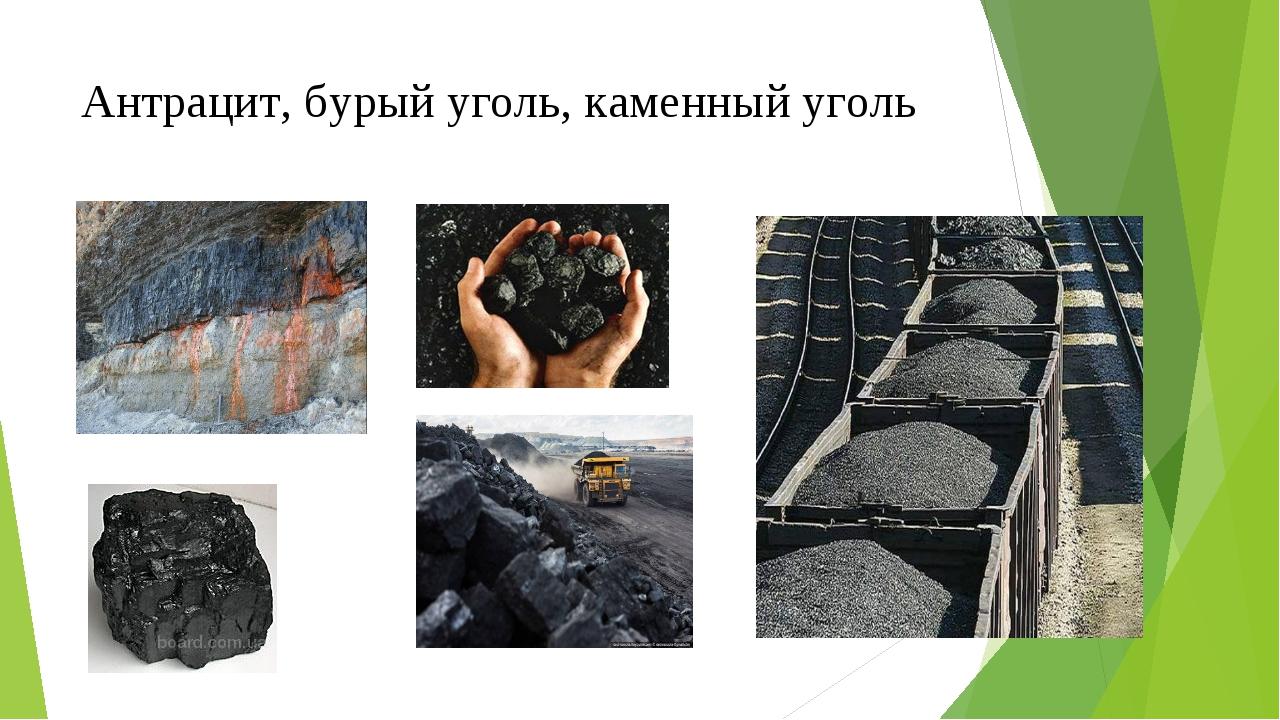 Антрацит, бурый уголь, каменный уголь
