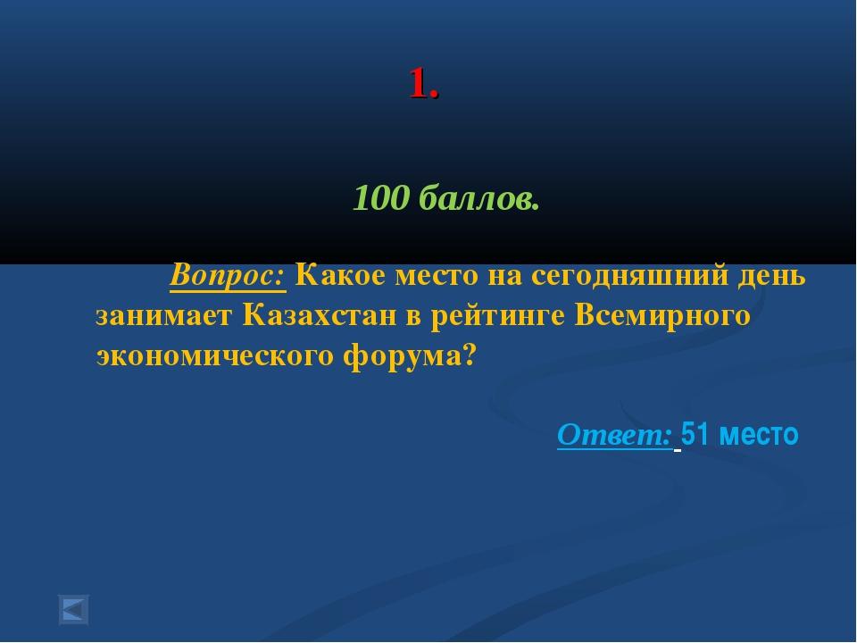 1. 100 баллов. Вопрос: Какое место на сегодняшний день занимает Казахстан в...