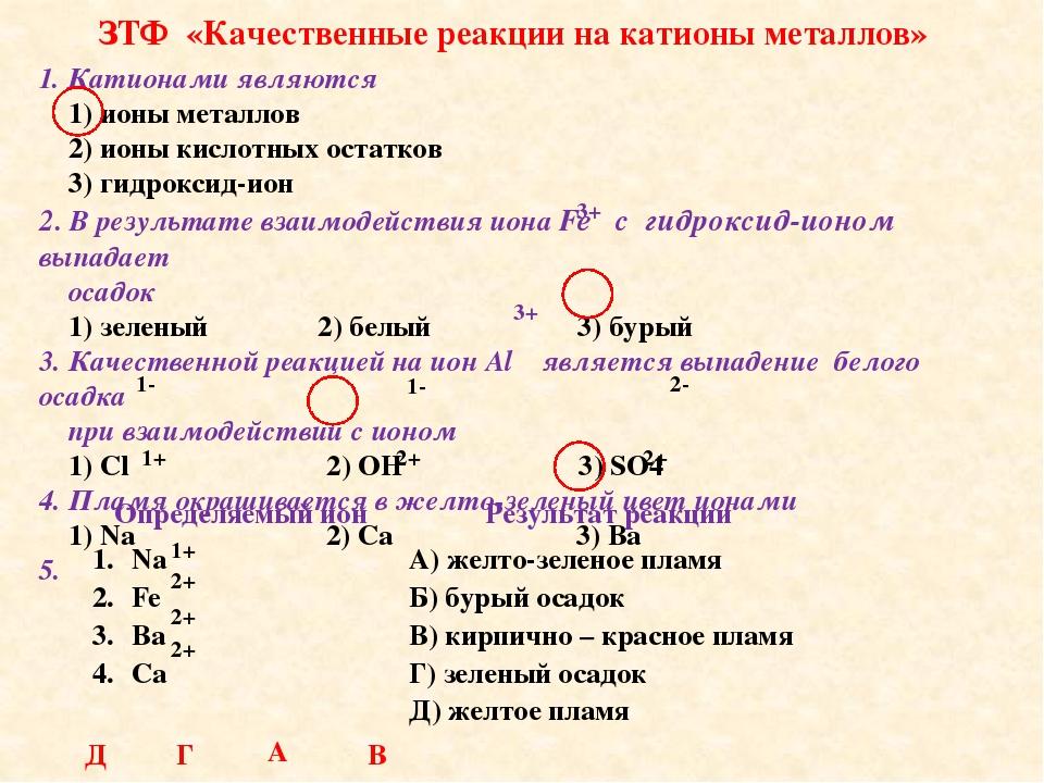 ЗТФ «Качественные реакции на катионы металлов» 1. Катионами являются 1) ионы...