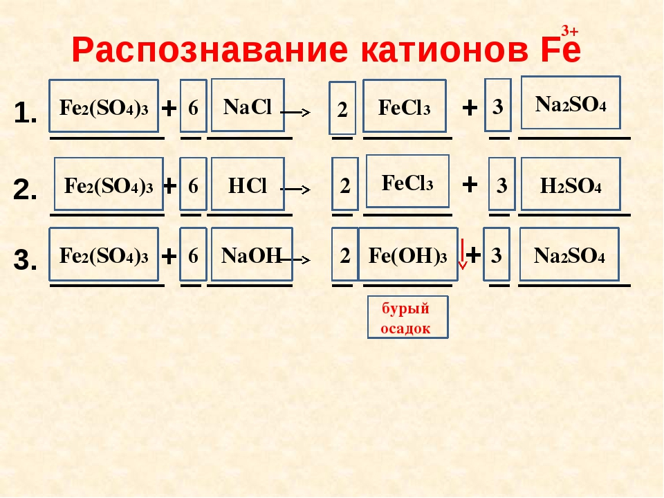 NaCl FeCl3 6 3 2 Na2SO4 HCl FeCl3 H2SO4 2 6 3 NaOH 3 Fe(OH)3 2 Na2SO4 6 бурый...